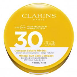 Compact Solaire Minéral Visage SPF 30 - CLARINS Enrichi en Antioxydants - Beige Naturel